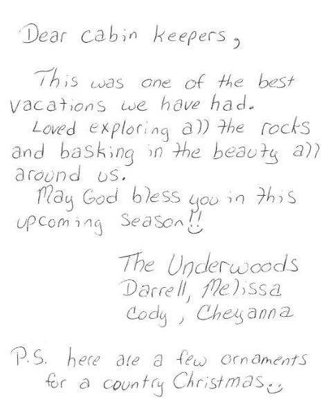 Twin Rocks Cabin Guest Comments